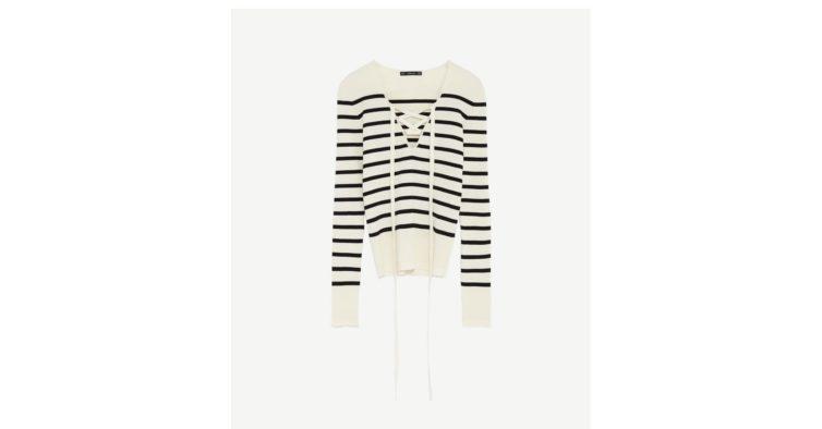Camisola riscas com laço (25,95€)