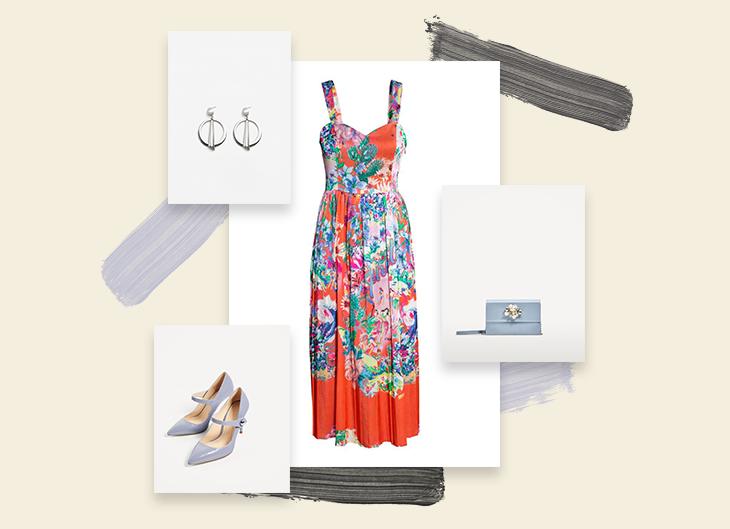 Look 2 | Flower Power | O vestido é a estrela do look, que conta com acessórios num tom menos previsível, para tornar o visual mais interessante.