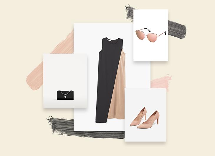 Look 1 | Clássico | Um vestido midi que se divide em dois tons, multiplicados depois nos acessórios, tão discretos quanto elegantes.